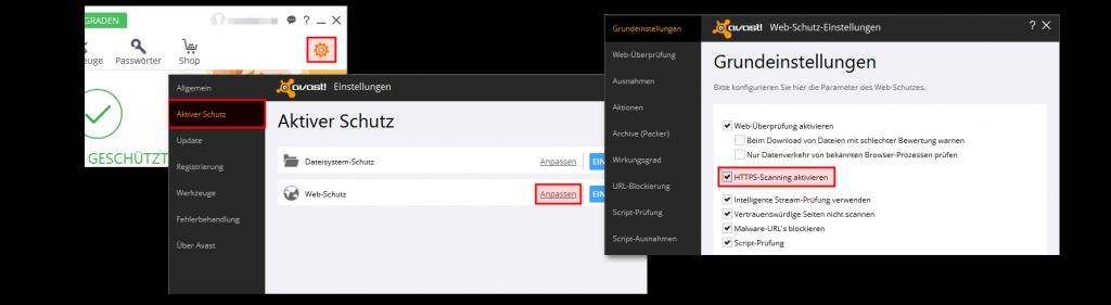 https-scanning deaktivieren unter Avast
